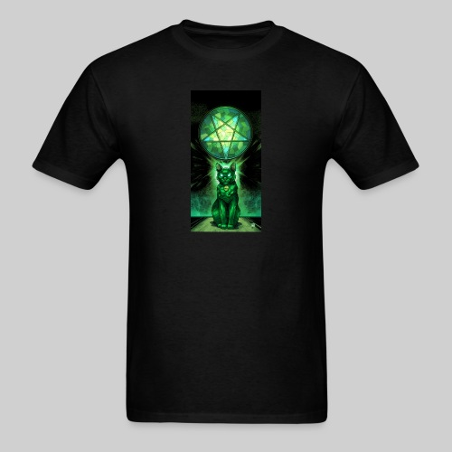 Green Satanic Cat and Pentagram Stained Glass - Men's T-Shirt