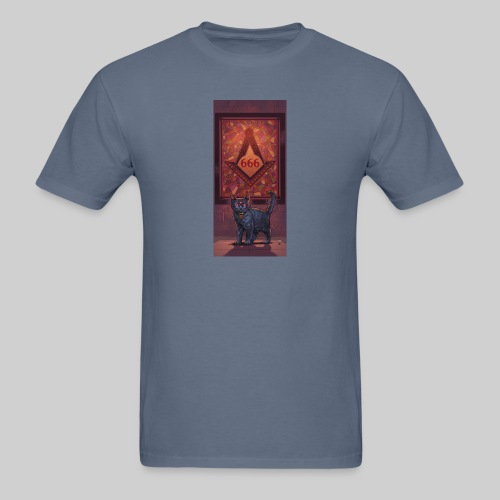 666 Three Eyed Satanic Kitten with Stained Glass - Men's T-Shirt
