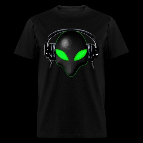 Alien Bug Face Green Eyes in DJ Headphones - Men's T-Shirt