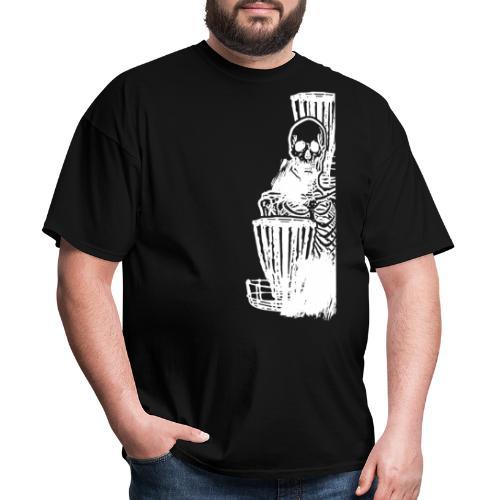 Disc Golf Until Death Skeleton White Print - Men's T-Shirt