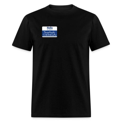 Snortoshi Crakamoto Name Tag Bitcoin Creator - Men's T-Shirt