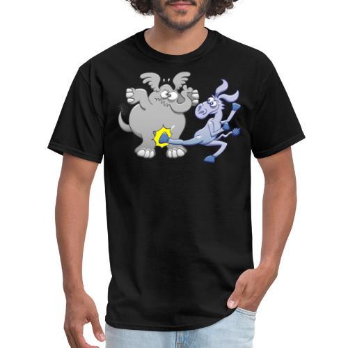 Democrat Donkey Kicking Republican Elephant - Men's T-Shirt