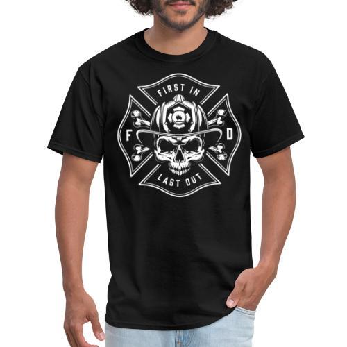 fire man fireman skull - Men's T-Shirt