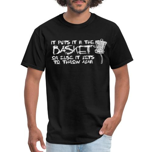 Puts It In Basket Disc Golf Shirt White - Men's T-Shirt