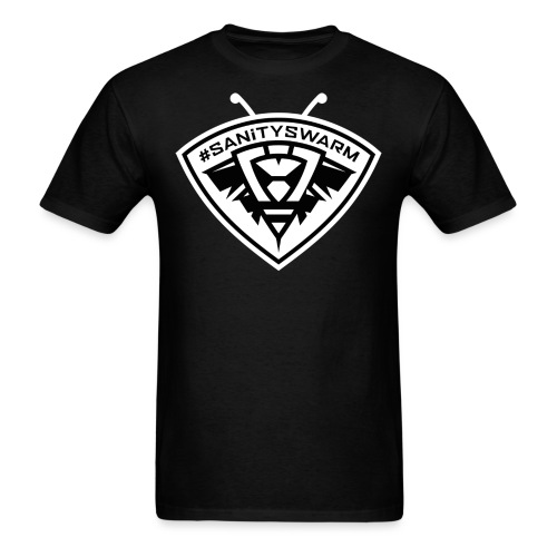 SanitySwarm BW Invert 2big png - Men's T-Shirt