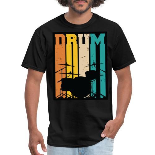 Retro Drum Set Silhouette Illustration - Men's T-Shirt
