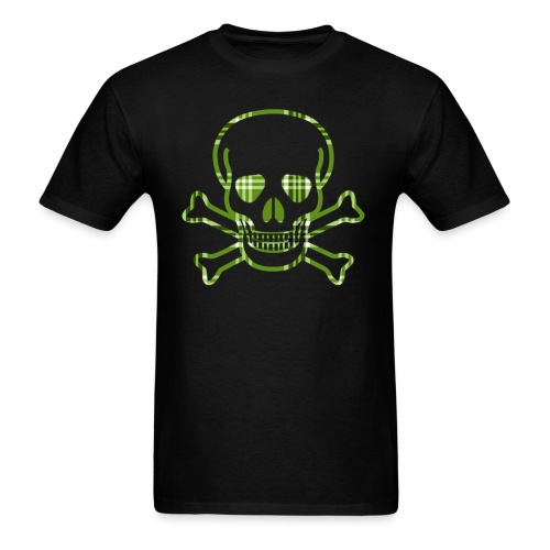 Skull & Cross Bones Green Plaid - Men's T-Shirt