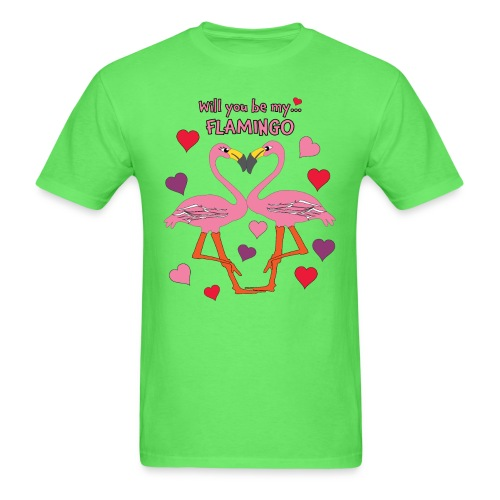 Will You be my Flamingo Valentine Kisses - Men's T-Shirt