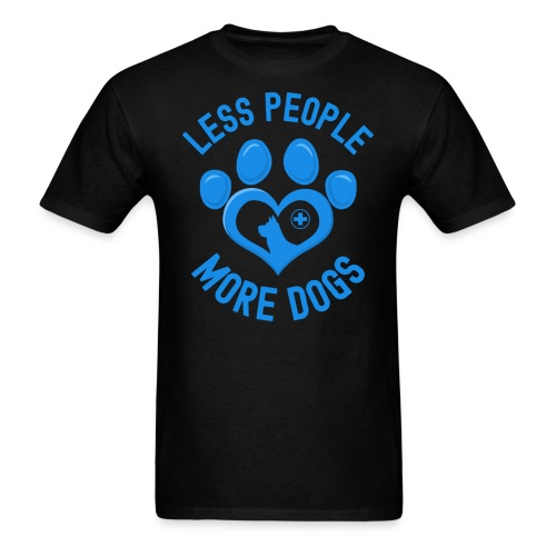 LESS PEOPLE MORE DOGS - Heart Shaped Dog Paw Print - Men's T-Shirt