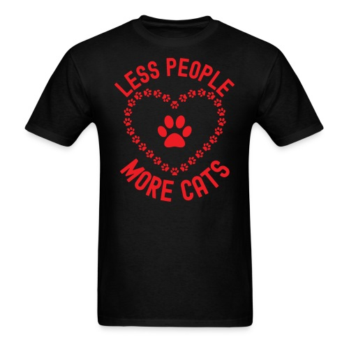 LESS PEOPLE MORE CATS - Paw Print Inside an Heart - Men's T-Shirt