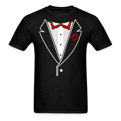 Tuxedo with Red bow tie - Men's T-Shirt