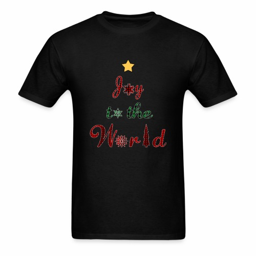 Joy to the world Christmas Tree Star Holiday Plaid - Men's T-Shirt