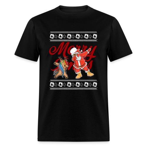 Dabbing Rudolf and Black Santa Christmas Shirt - Men's T-Shirt
