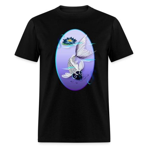 White Koi-Blue Lily Oval - Men's T-Shirt