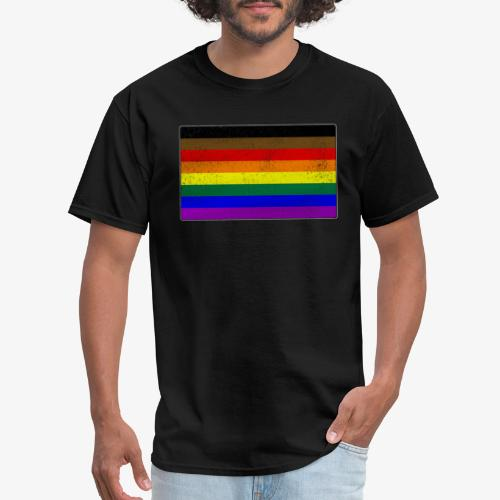 Distressed Philly LGBTQ Gay Pride Flag - Men's T-Shirt