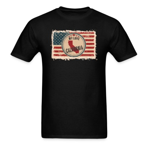 California State Silhouette on Vintage US Flag - Men's T-Shirt