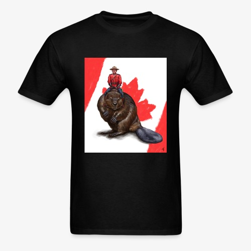 majestic mountie riding a beaver by borschtplz daj - Men's T-Shirt