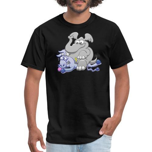Elephant Sitting on Donkey and Squashing it - Men's T-Shirt