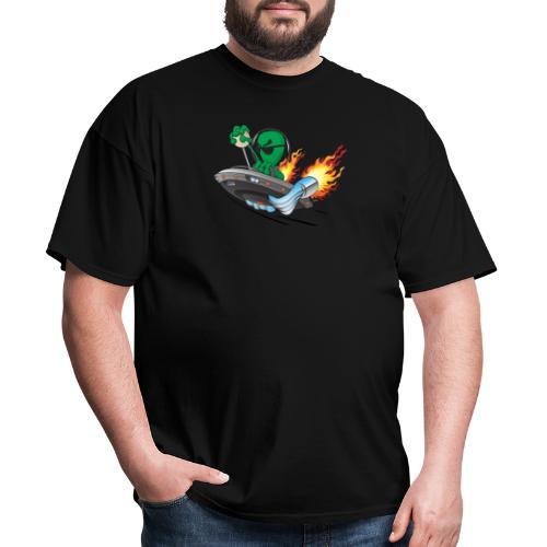 UFO Alien Hot Rod Cartoon Illustration - Men's T-Shirt