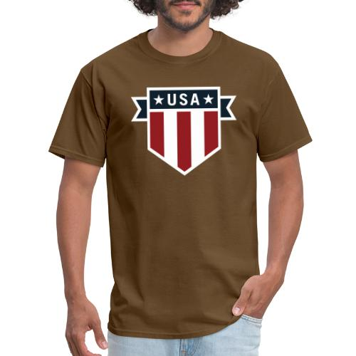 USA Pride Red White and Blue Patriotic Shield - Men's T-Shirt