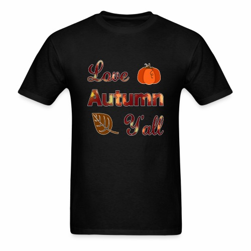 Love Autumn Y'all Fall Season Leaf Foliage Gourd. - Men's T-Shirt