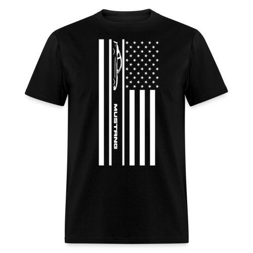 Mustang American Flag - Men's T-Shirt