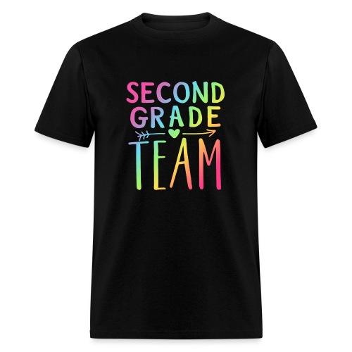 Second Grade Team Neon Rainbow Teacher T-Shirts - Men's T-Shirt