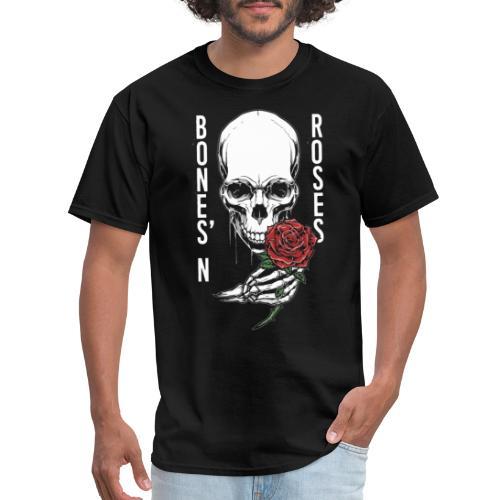bones roses skull - Men's T-Shirt