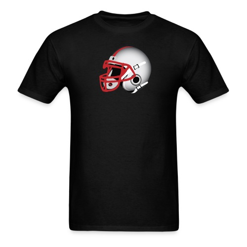 Custom Football Helmet Red on White - Men's T-Shirt