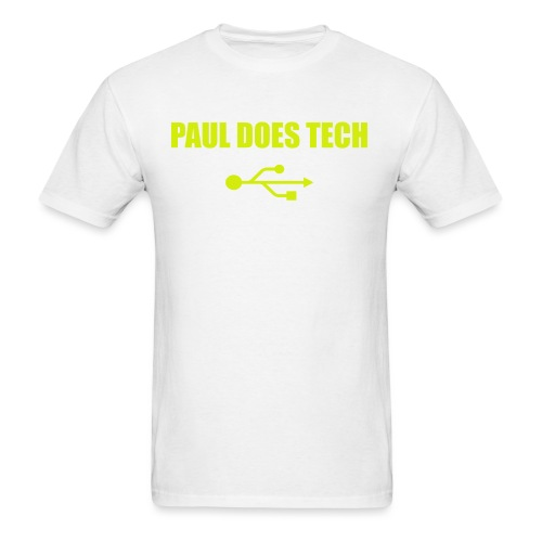 Paul Does Tech Yellow Logo With USB (MERCH) - Men's T-Shirt
