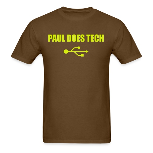 Paul Does Tech Yellow Logo With USB (MERCH) - Men's T-Shirt