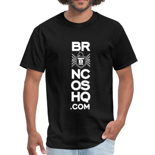 BroncosHQ Vertical Text White - Men's T-Shirt