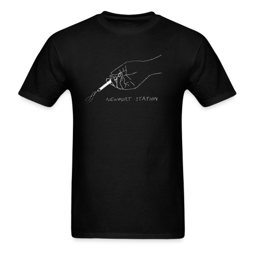 hand holding cig (etched in white) - Men's T-Shirt