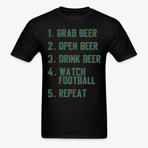 Teal and Gold - Beer and Football - Men's T-Shirt