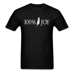 Black T Shirt with White 100% Joy Logo - Men's T-Shirt