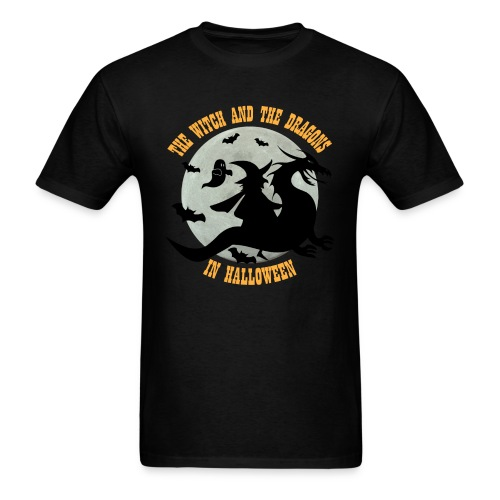 TE WITCH AND THE DRAGONS IN HALLOWEEN - Men's T-Shirt