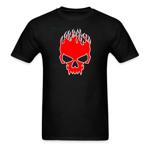 Flaming Red Skull with Tribal Flames - Men's T-Shirt