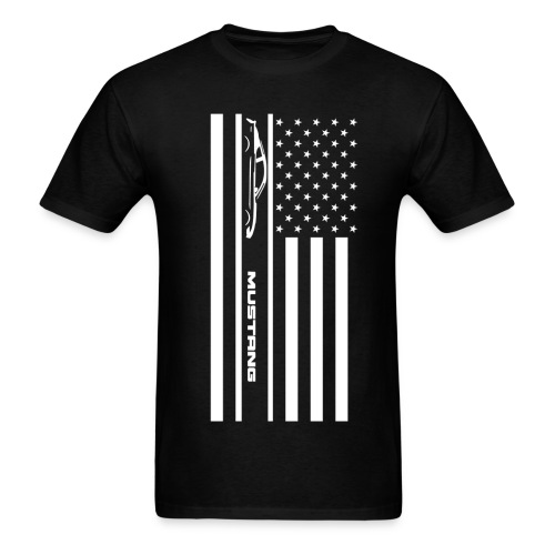 Mustang American Flag - Men's T-Shirt