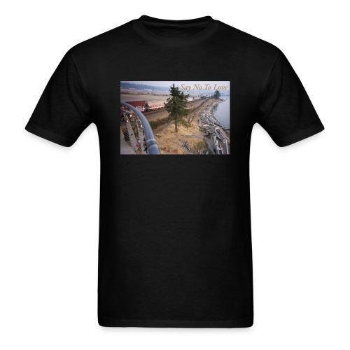 Abandoned Railroad Say Not To Love Film Photograph - Men's T-Shirt