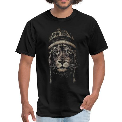 Lion white hat beanie king animal - Men's T-Shirt