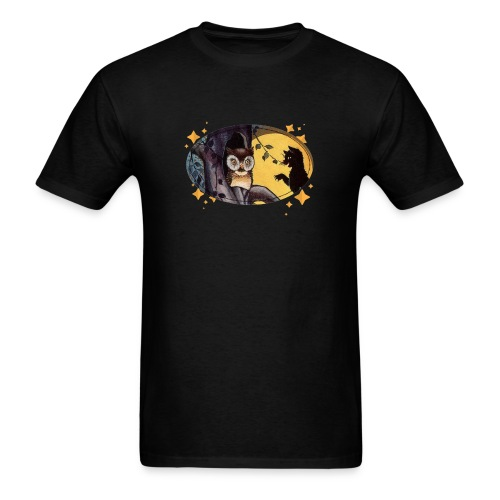 Full Moon and the Black Cat Visit Owl on Halloween - Men's T-Shirt
