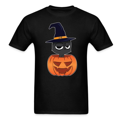 Witch Cat in a Jack o Lantern Halloween Shirt - Men's T-Shirt