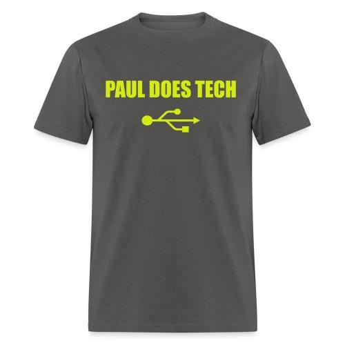 Paul Does Tech Logo Yellow With USB (BS) - Men's T-Shirt