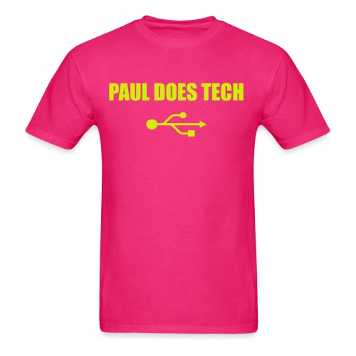 Paul Does Tech Logo Yellow With USB (BS) - Men's T-Shirt