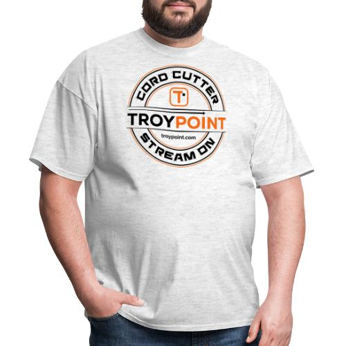 TROYPOINT Cord Cutter - Navy Logo - Men's T-Shirt