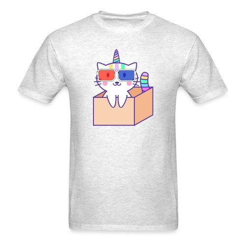 Unicorn cat with 3D glasses doing Vision Therapy! - Men's T-Shirt