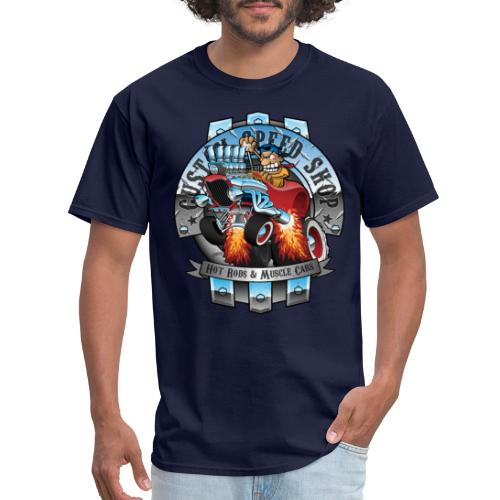 Custom Speed Shop Hot Rods and Muscle Cars Illustr - Men's T-Shirt
