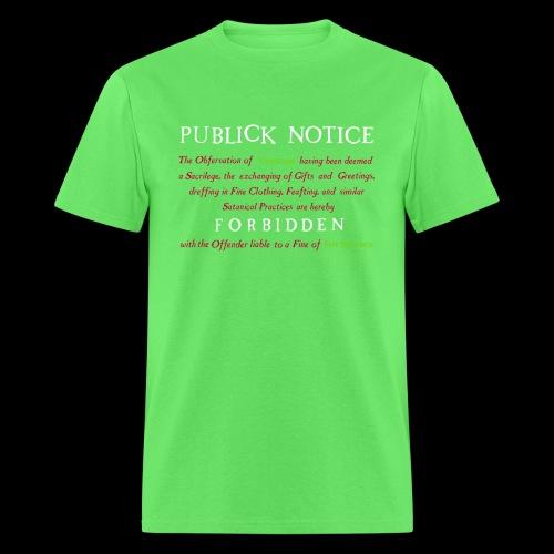 Boston Christmas Ban Notice 1659 - Men's T-Shirt