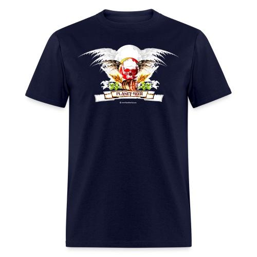 Planet Beer Skull & Keg Gothic 2 Tone - Men's T-Shirt