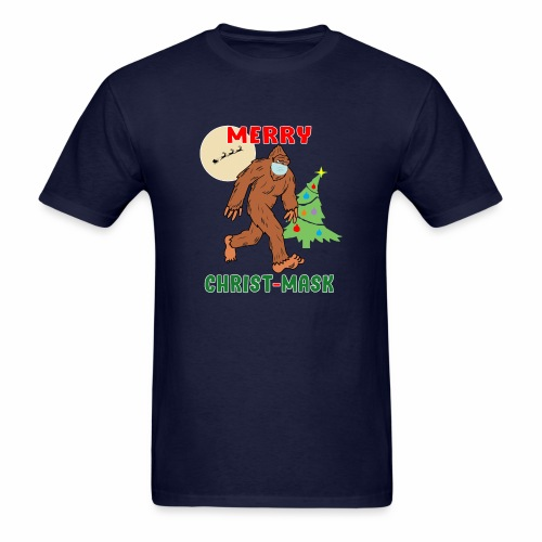 Merry Christmask Sasquatch Mask Social Distance. - Men's T-Shirt